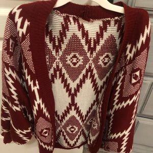 Burgundy Aztec open front sweater